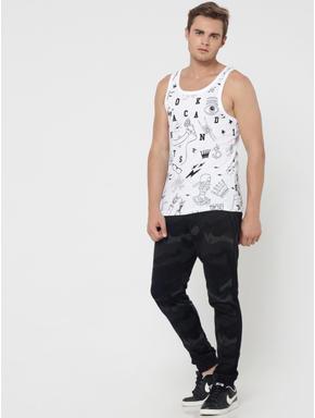 White All Over Print Slim Fit Vest