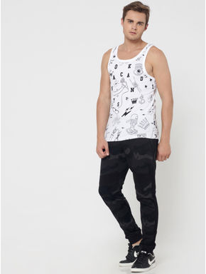 White All Over Print Slim Fit Vest