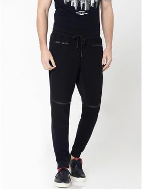 Black Textured Weave Drawstring Sweatpants