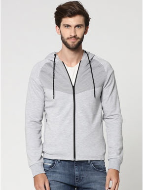 Grey Mesh Detail Zip Up Hooded Sweat Jacket