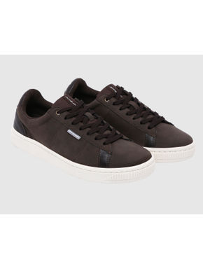 Brown Faux Suede & Canvas Sneakers