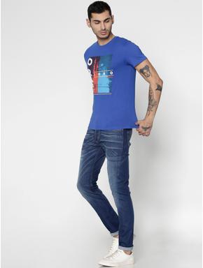 Blue Printed Slim Fit Crew Neck T-Shirt
