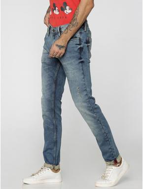 Blue Distressed Ben Skinny Fit Jeans