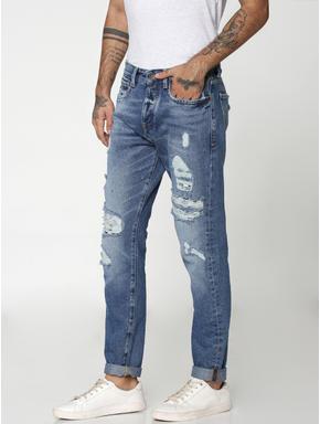 Blue Heavy Distressed Erik Anti Fit Jeans