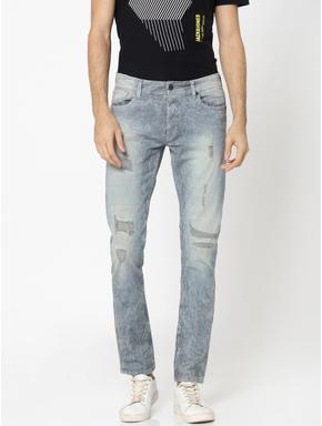 Blue Striped Heavy Distressed Glenn Slim Jeans