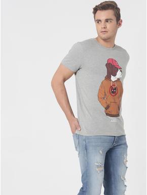 Grey Dog Print Crew Neck T-Shirt