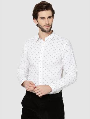 White All Over Skull Print Full Sleeves Shirt