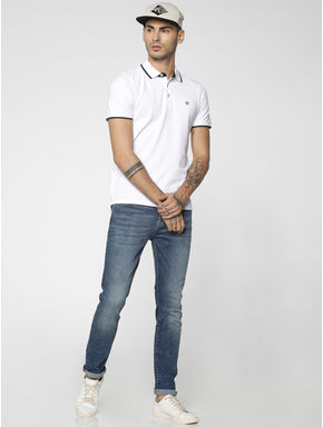 White Contrast Collar Piping Polo T-Shirt