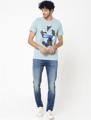 Light Blue Graphic Print Crew Neck T-Shirt