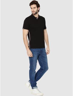 Black Tape Detail Polo T-Shirt