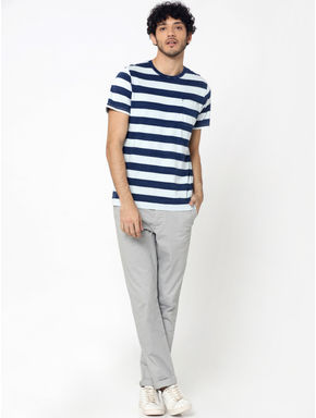 Grey Mid Rise Slim Fit Chinos