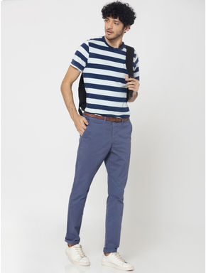 Blue Mid Rise Slim Fit Chinos
