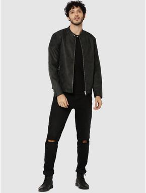 Dark Grey PU Ribbed Shoulder Biker Jacket