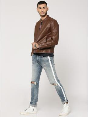 Chocolate Brown PU Biker Jacket
