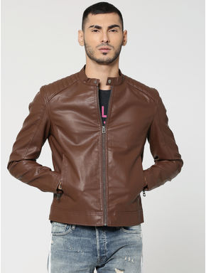 Chocolate Brown PU Biker Jacket