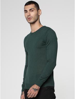 Green Knit Crew Neck Sweatshirt