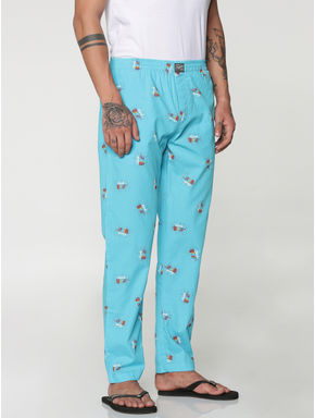 Blue All Over Look Text and Graphic Print Pyjama