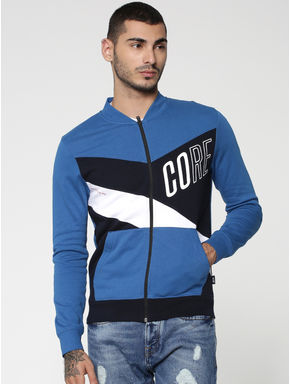 Blue Colourblocked Sweat Jacket