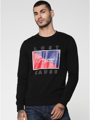 Black Graphic & Text Print Sweatshirt