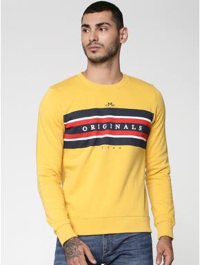 Yellow Graphic Print Crew Neck Sweatshirt