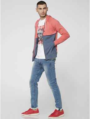Peach Colourblocked Hooded Sweat Jacket