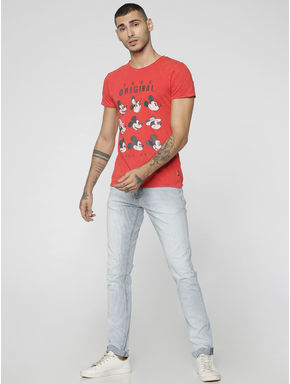 Mickey Red Mickey Mouse Print Crew Neck T-Shirt