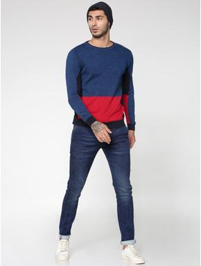 Blue Colour Blocked Crew Neck Sweatshirt