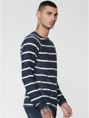 Blue Stripes Raglan Sleeves Crew Neck Sweatshirt