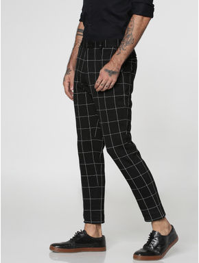 Black Checks Slim Fit Trousers