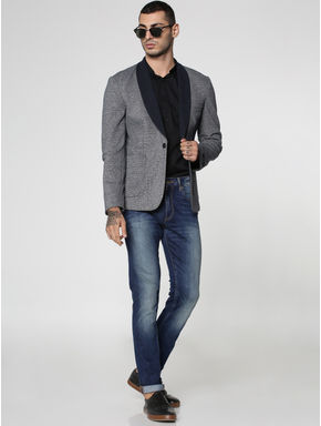 Blue Dobby Knitted Slim Fit Blazer