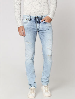 Light Blue Distressed Glenn Slim Fit Jeans