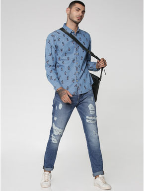 Mickey All Over Mickey Mouse Print Full Sleeves Denim Shirt