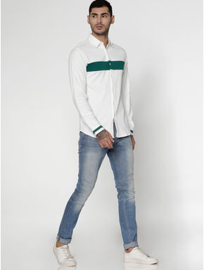 White Colour Blocked Slim Fit Full Sleeves Shirt
