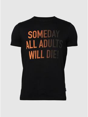 Black Text Print Slim Fit Crew Neck T-Shirt