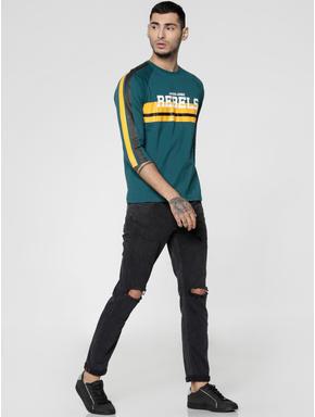 Green Text Print Slim Fit Crew Neck T-shirt