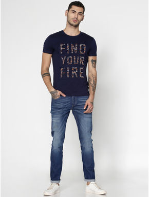 Navy Blue Text Print Slim Fit Crew Neck T-Shirt