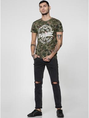 Green Camo Text Print Slim Fit Crew Neck T-shirt