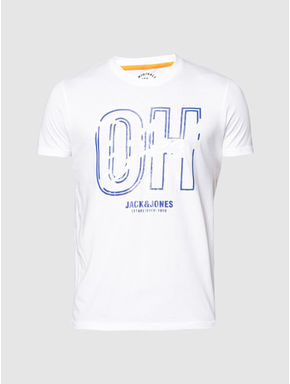 White Text Print Slim Fit Crew Neck T-shirt