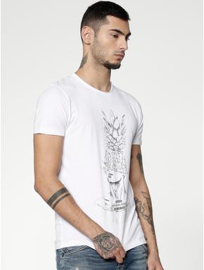 White Graphic Print Slim Fit Crew Neck T-shirt