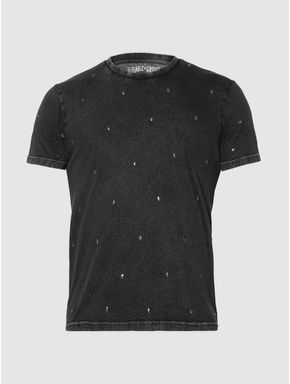 Black Embellished Crew Neck T-Shirt