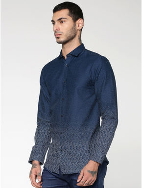 Blue All Over Dotted Print Full Sleeves Shirt