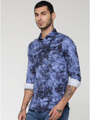 Blue All Over Texture Print Slim Fit Full Sleeves Shirt