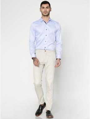 Blue Dobby Slim Fit Full Sleeves Shirt