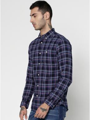 Blue Checks Patch Pocket Slim Fit Full Sleeves Shirt