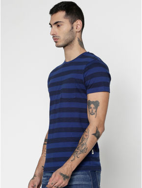 Blue Striped Slim Fit Crew Neck T-Shirt