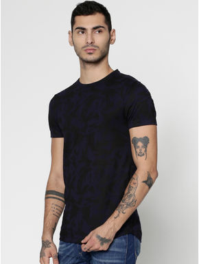 Blue All Over Printed Slim Fit Crew Neck T-Shirt
