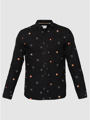 Black All Over Printed Slim Fit Full Sleeves Shirt