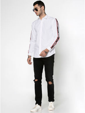 White Side Tape Full Sleeves Shirt