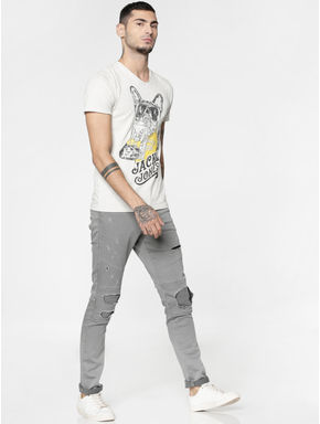White Graphic and Text Print Slim Fit V Neck T-shirt