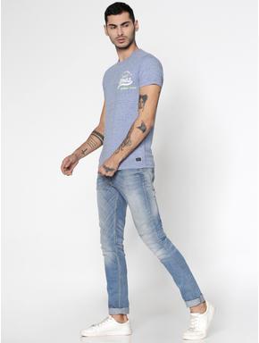 Blue Text Print Slim Fit Crew Neck T-Shirt